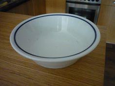 Alföldi kékcsíkos mélytányér (menzás) (80's) Retro, Tableware, Kitchen, Dinnerware, Cooking, Tablewares, Kitchens, Retro Illustration, Dishes