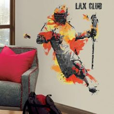 Men's Lacrosse Champion Peel and Stick Giant Wall Decals