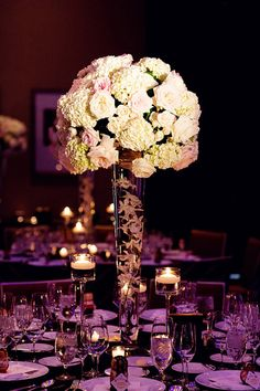 Chic Chicago Wedding Venues - The Trump Hotel Orchid Centerpieces, Tall Wedding Centerpieces, Wedding Table Decorations, White Centerpiece, Summer Wedding, Wedding Reception, Our Wedding, Dream Wedding, Wedding Ideas
