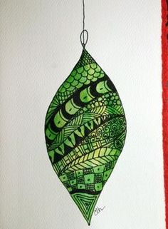 Zentangle Christmas Ornament -   5 x 7 - greeting card