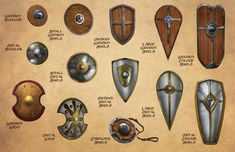 D&D, Pathfinder, and RPG News at Morrus' Unofficial Tabletop RPG News - Accessorising Your Fantasy Warrior: Shields, Gauntlets, & Helms Fantasy Warrior, Fantasy Weapons, Armadura Medieval, Dungeons And Dragons Homebrew, D&d Dungeons And Dragons, Armor Concept, Weapon Concept Art, Escudo Viking, Shield Design