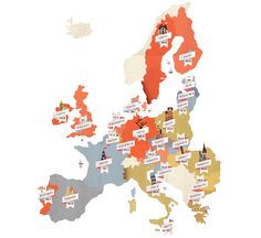 map of how many years are spent working through Europe...    Kela Map / Lotta Nieminen