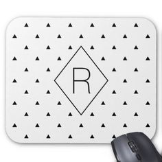 Elegant black white geometric pattern | triangles mouse pad - girly gifts special unique gift idea custom