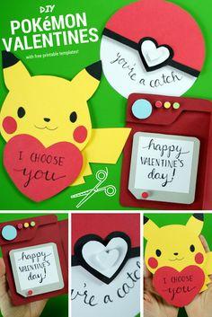 Super cute tutorial for three Pokémon Valentine's Day Cards! Pikachu, Pokédex, and a pokéball. #diy #valentines #pokemon