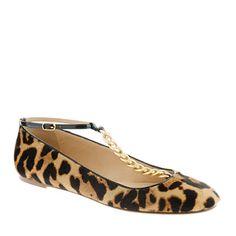 calf hair leopard t-strap ballet flats from j.crew.