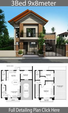23 2 Bedroom Bungalow House Plans In the Philippines 2 Bedroom Bungalow House Plans In the Philippines - Home design plan with 3 bedrooms Low Cost Bungalow Simple House Design With Floor Plan modern. Modern House Floor Plans, Simple House Plans, Simple House Design, House Front Design, Modern House Design, Modern Houses, Floor Plans 2 Story, Duplex House Plans, Two Story House Design