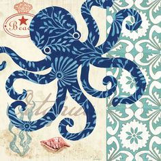 Sea Life - Octopus is a beautiful fine art canvas by Jennifer Brinley. Gallery wrap from InGallery.com
