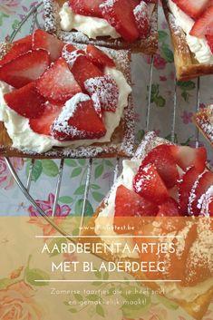 Aardbeientaartjes met bladerdeeg recept PinGetest Beignets, Funky Fruit, Baking Bad, Cheesecake, Great Desserts, High Tea, Cake Cookies, I Foods, Sweet Recipes