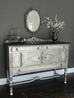 SOLD Vintage Ornate Buffet in Antiqued aged Nickel by TRWpainted