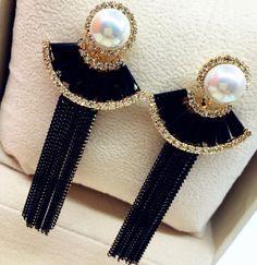 Free Shipping! 2016 Fashion Elegant Luxurious Zircon and Pearl Long Tassel Chain Drop Earrings For Women Party Earrings