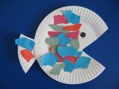 "I really like this simple summer craft for preschool children. It would make a fabulous addition to a ""Rainbow Fish"" reading. Imagine a bulletin board on blue paper with all your children's fish on it!"
