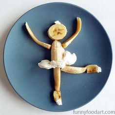 Banana food art via: Lunalu's Diary: Funny Food Art Image 2 Cute Snacks, Fun Snacks For Kids, Cute Food, Good Food, Kids Fun, Food Art For Kids, Cooking With Kids, Toddler Meals, Kids Meals