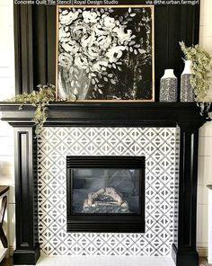 Concrete Quilt Pattern Tile Stencils for Floors or Kitchen Backsplash – Royal Design Studio Stencils Paint Fireplace Tile, Fireplace Tile Surround, Shiplap Fireplace, White Fireplace, Farmhouse Fireplace, Fireplace Remodel, Fireplace Mantle, Fireplace Surrounds, Fireplace Design