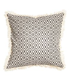 Cushion Cover with Fringe | Natural white/charcoal gray | Home | H&M US