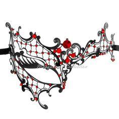 Masquerade Mask Collection - Black Venetian Phantom Mask with Elegant Red Diamonds