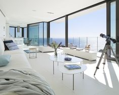 All white interior for this amazing location  Check @_themillionairelife_ for more / Detached House in #Spain designed by Anna Podio Arquitectura