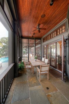 Screened Porch Design, Pictures, Remodel, Decor and Ideas - page 15  Love the floor and ceiling.