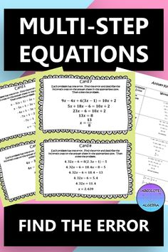 Help your students build rigor when finding errors in problems. Includes: 10 multi-step equations with an error in each which the student needs to find and then solve correctly Color and B/W copies Cooperative Groups Instructions Answer sheet Worked Out Answer key #error analysis, #mistake, #error, #equations, #solving equations, #task cards, #Algebra, #Algebra I, #Algebra II Algebra Activities, Math Resources, Numeracy, Solving Equations, Secondary Math, B 13, Math Lessons, Critical Thinking, Students