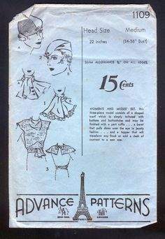1930 Advance 1109 Pattern -  Ladies' Hat, Scarf and Bodice Topper
