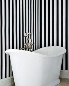 Black + White Striped wall paper