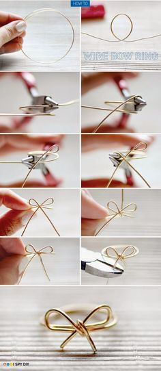 DIY Roundup: 7 Fun and Easy DIY Ring Tutorials wire bow ring – I've done this before! A cute and inexpensive idea, which also goes good with any outfit! The post DIY Roundup: 7 Fun and Easy DIY Ring Tutorials appeared first on DIY Crafts. Diy Rings Tutorial, Ear Cuff Tutorial, Bow Tutorial, Photo Tutorial, I Spy Diy, Fun Diy, Cool Diy, Diy Accessoires, Diy Crafts Jewelry
