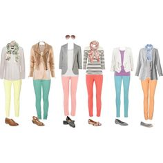 Ideas for outfits with colored skinny jeans!