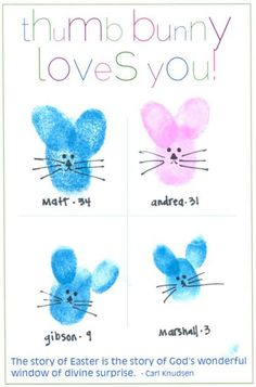 another cute Easter card - thumb bunnies!