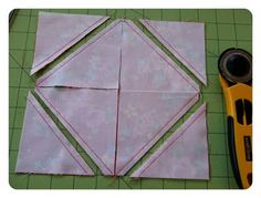 Layer cake slices x2 = 8 hst's or 4 hst's and a carefully cut open framed block.