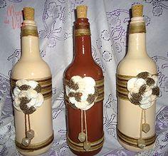 Crochê nos detalhes das garrafas                                                                                                                                                                                 Mais