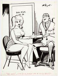 BEN WENZEL - By Gad! - Even your pulse has a Go-Go Beat! - July 1966 Fun House Comedy - item by comics.ha Fun House, Home Goods, Pin Up, Comedy, Cartoons, Anime, Cartoon, Cartoon Movies, Comedy Theater