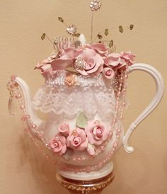Handmade Teapot, Shabby Cottage Chic, Decor, Roses, Pearls, Bling