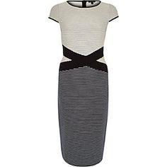 Navy stripe cross waist bodycon dress