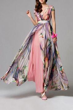 Split Floral Maxi Swing Dress