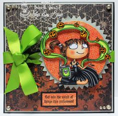 """My DT card for the halloween challenge at Kraftin' Kimmie Stamps featuring """"Magical Mathilda"""""""