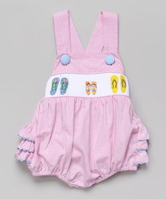 Look at this Smocked or Not Pink Smocked Flip-Flop Ruffle Sunsuit - Infant
