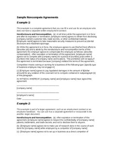 Employee Non-Compete Agreement - Template & Sample Form | Biztree ...
