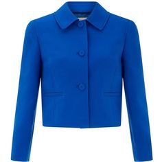 Hobbs Lorna Jacket (€230) ❤ liked on Polyvore featuring outerwear, jackets, cobalt, women, blue jackets, blue cropped jacket, long sleeve jacket, cropped jacket and hobbs