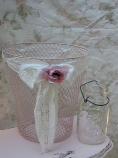 Wire Basket Pink Shabby Chic Mesh Container Vintage by Fannypippin, $22.50