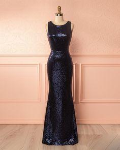 Navy blue sequins long slim open back halter evening dress #dress