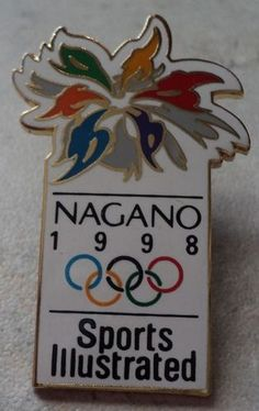 OLYMPIC GAMES PIN Nagano 1998 Olympics Sports Illustrated White Goldtone Badge