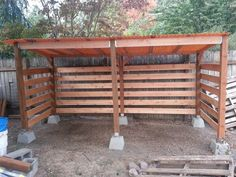 Firewood storage shed I built in one day. Great airflow.                                                                                                                                                     More