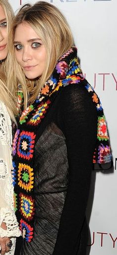 MaryKate Olsen. The minute I saw this Granny Square scarf I wanted it.  Have never been able to ascertain where it came from.  Need someone to make me one.  ASAP!
