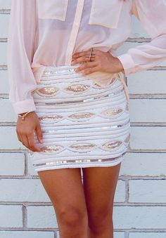 White Sparkly Skirt w/ Pastel Pink Blouse