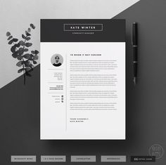 Minimal Resume Template for Word 1 & 2 Page CV Template, Icon Set, Cover Letter… Cover Letter Template, Cv Template, Layout Template, Resume Templates, Cover Letters, Design Logo, Cv Design, Resume Design, Flat Design