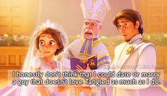 """I honestly don't think that I could date or marry a guy that doesn't love Tangled as much as I do.""- haha well I woudn't go that far! But at least watch it with me Punk Disney Princesses, Disney Rapunzel, Disney Characters, Disney Memes, Disney Quotes, Disney Facts, Disney And Dreamworks, Disney Pixar, Cartoon Theories"