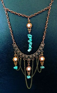 'Timeless divinity' Copper, turquoise and opal boho necklace