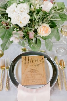 An elegant Ashton Creek Vineyard wedding inspiration with wooden invitations, pink bouquets, and dusty blue bridesmaid dress.