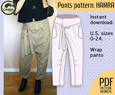 Instant download Thai wrap pants pattern for women, multi size PDF pattern for a cool and easy style with great fit for your DIY wardrobe
