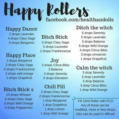 Happy roller include bitch stick, happy place, happy dance, calm the witch, ditch the witch essential oil blends