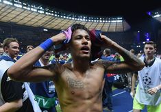 Neymar of Barcelona celebrates scoring his team's third goal during the UEFA Champions League Final between Juventus and FC Barcelona at Olympiastadion on June 2015 in Berlin, Germany. World Cup 2014, Professional Football, Neymar Jr, Uefa Champions League, Fc Barcelona, Ronaldo, Soccer, Berlin Germany, Messi